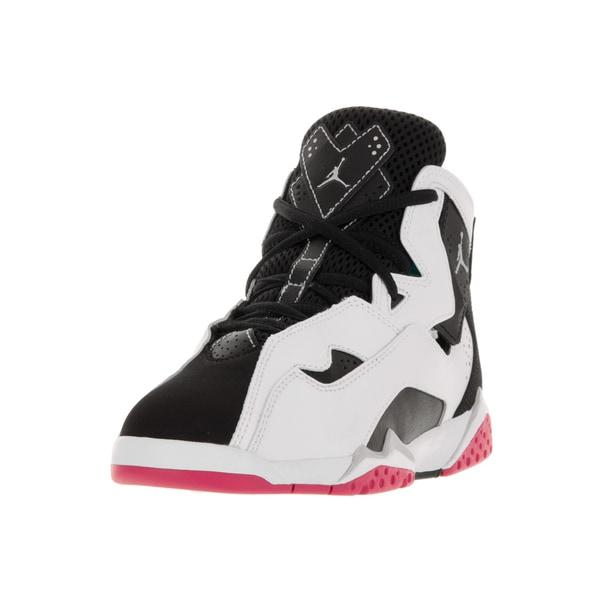 Nike Jordan Kids Jordan True Flight Gp White/Metallic Silver/Black/Vivid Pink Basketball Shoes