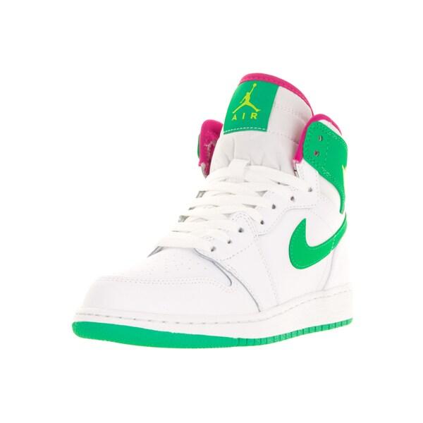 Nike Jordan Kids Air Jordan 1 Retro High GG White/Gamma Green/Vivid Pink/Cyber Basketball Shoes