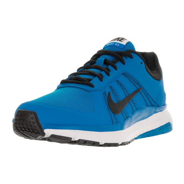Nike Men's Dart 12 Photo Blue, Black, Deep Royal Blue, and White Fabric Running Shoes