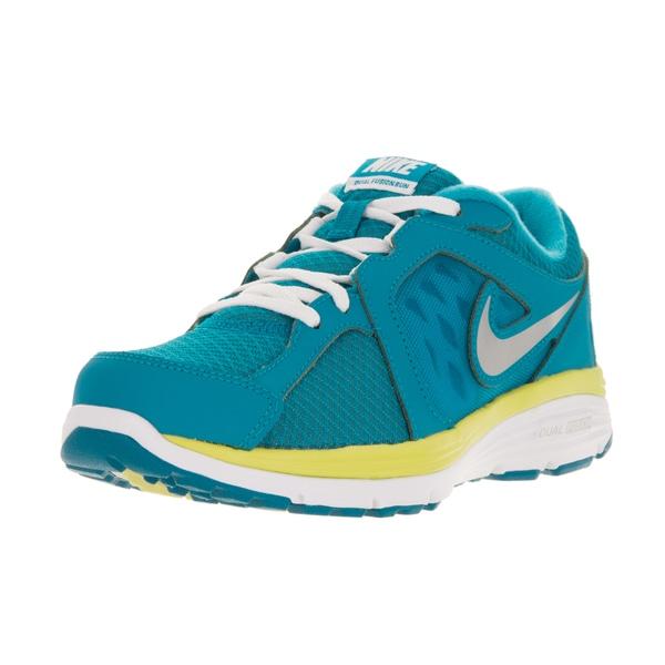 Nike Kids' Dual Fusion Blue, Metallic Silver, White, and Electric Yellow Mesh Running Shoes
