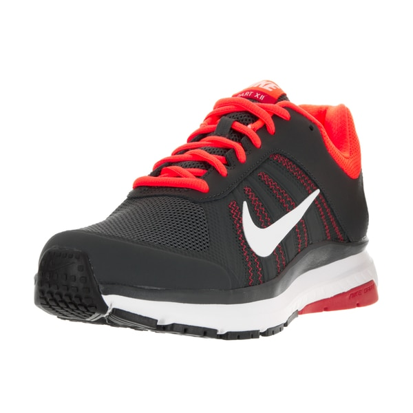 Nike Men's Dart 12 Anthracite Black, White, and Total Crimson Fabric Running Shoes
