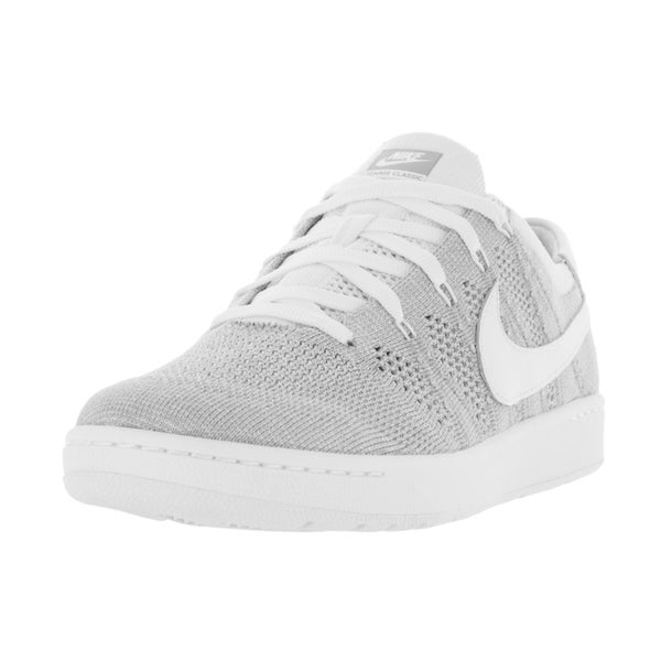 Nike Men's Tennis Classic Wolf Grey and White Ultra Flyknit Tennis Shoes