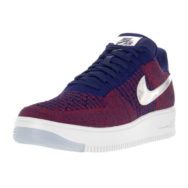 Nike Men's AF1 Ultra Flyknit Low Prm Gym Red/Deep Royal Blue White Basketball Shoe