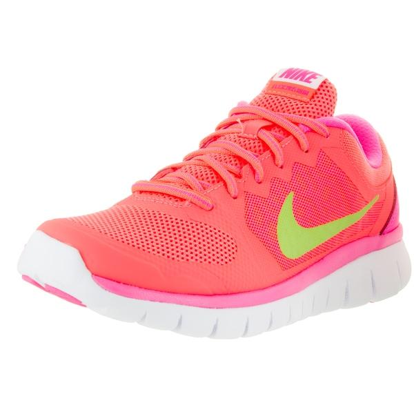 Nike Kids' Flex Run 2015 Lava Glow, Liquid Lime, Pink, and White Mesh Running Shoes