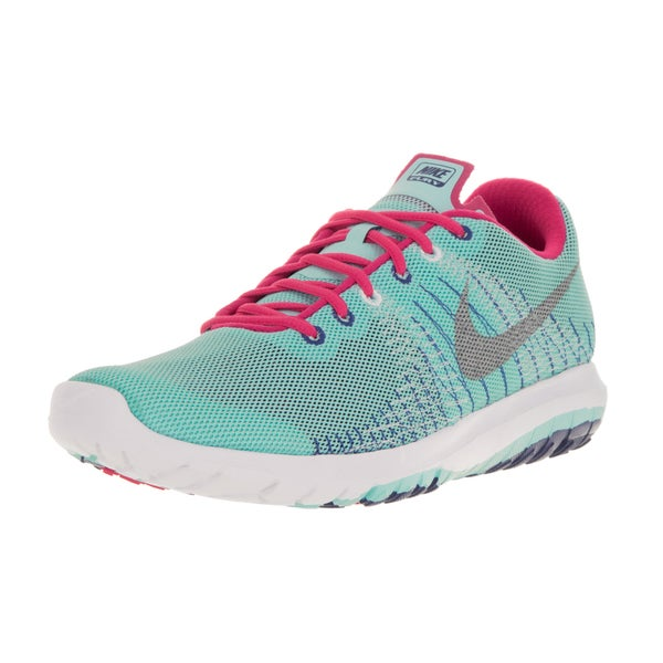 Nike Kids' Flex Fury Blue, Metallic Silver, White, and Pink Mesh Running Shoes
