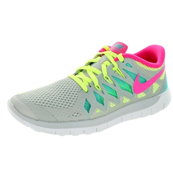Nike Kids' Free 5.0 (GS) Grey, Pink, Green, and Yello Mesh Running Shoes