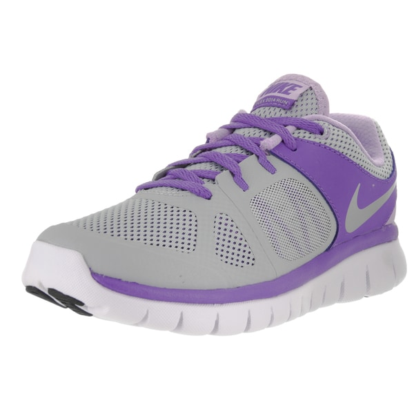 Nike Kids' Flex 2014 RN (GS) Wolf Grey/Metallic Silver/Purple Haze/Hybrid Running Shoes