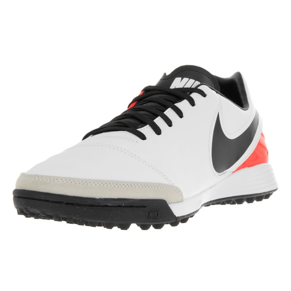Nike Men's Tiempo Mystic V TF White/Black/Total Orange Turf Soccer Shoe