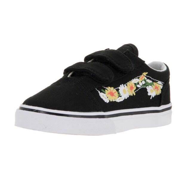Vans Toddlers' Old Skool V (Daisy) Black/True White Skate Shoe