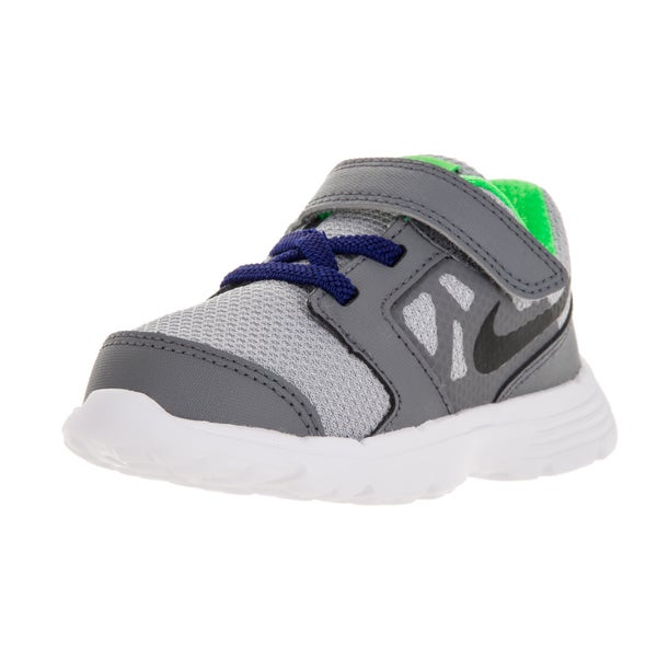 Nike Toddlers' Downshifter 6 (TD) Grey, Blue, Green, and White Fabric Running Shoes