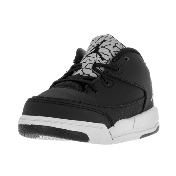 Nike Toddler's Jordan Flight Origin 3 Black/Metallic Silver Leather Basketball Shoes