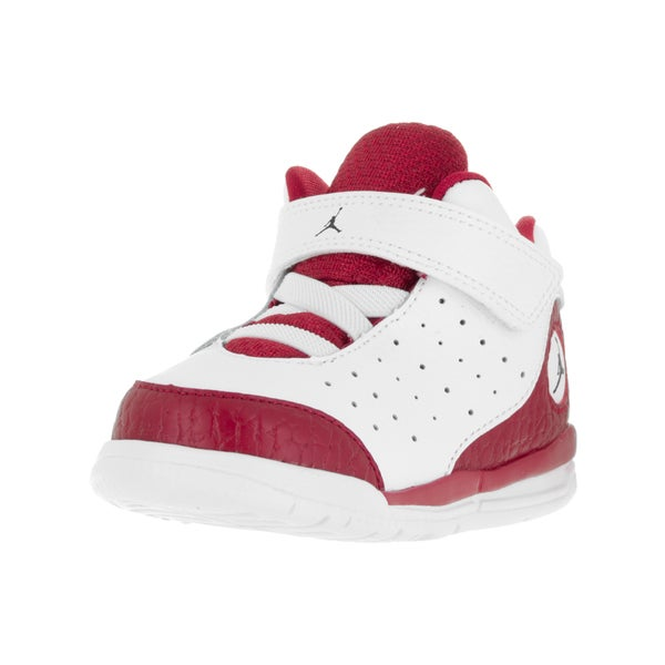 Nike Toddler's Jordan Flight Tradition White/Black/Red Leather Basketball Shoes