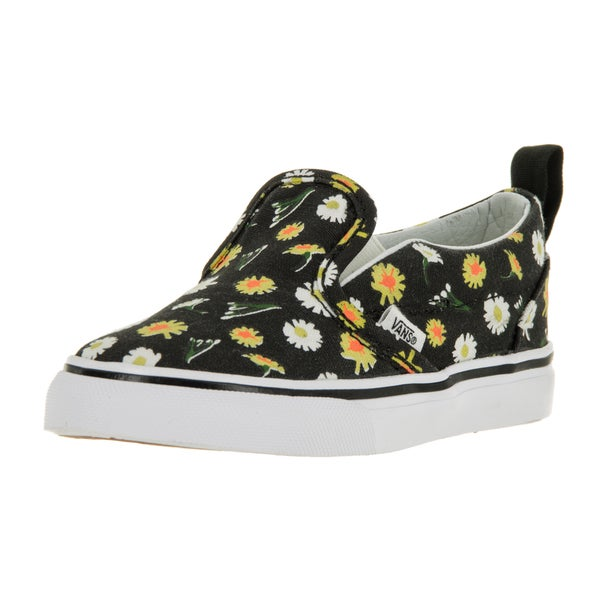 Vans Toddlers' Classic Slip-on V Black and True White Canvas Daisy Skate Shoes