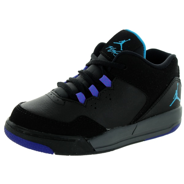 Nike Jordan Toddlers' Jordan Flight Origin 2 Black, Purple, Blue, and Grey Synthetic Leather Basketball Shoes