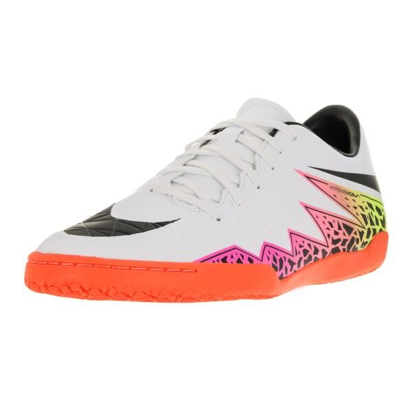 Nike Men's Hypervenom Phelon II IC White/Black/Total Orange/Volt Indoor Soccer Shoe