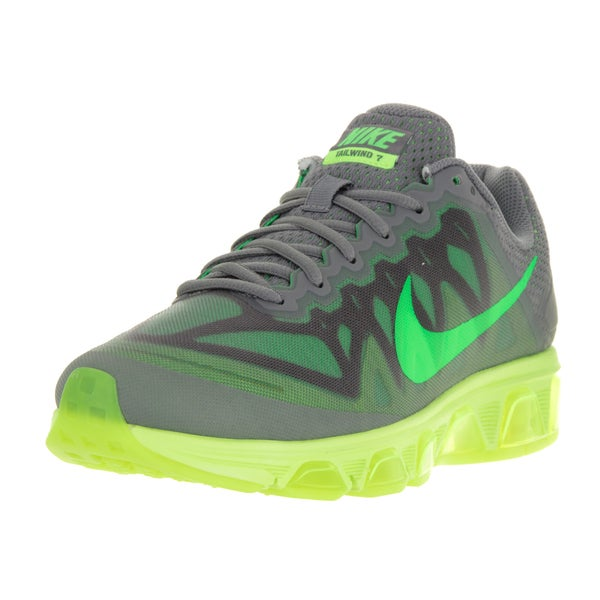 Nike Men's Air Max Tailwind 7 Cool Grey, Green Strike, and Volt Yellow Fabric Running Shoes