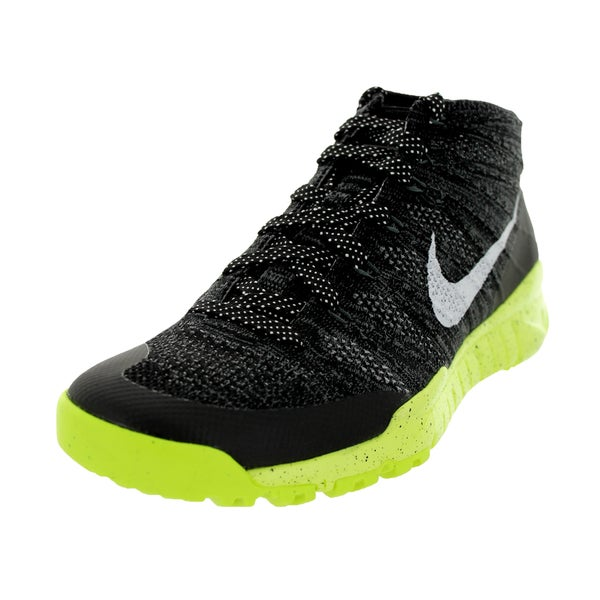 Nike Men's Flyknit Trainer Chukka Fsb Black/White/Volt Wool Upper Training Shoes