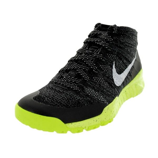 Nike Men's Flyknit Trainer Chukka Fsb Black/White/Volt Wool Upper Training Shoes