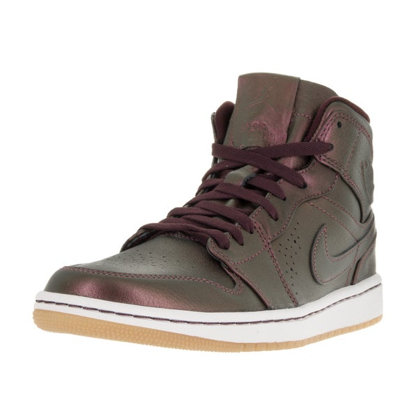 Nike Jordan Men's Air Jordan 1 Midnight Nouveau, Deep Burgundy, and White Leather Basketball Shoes