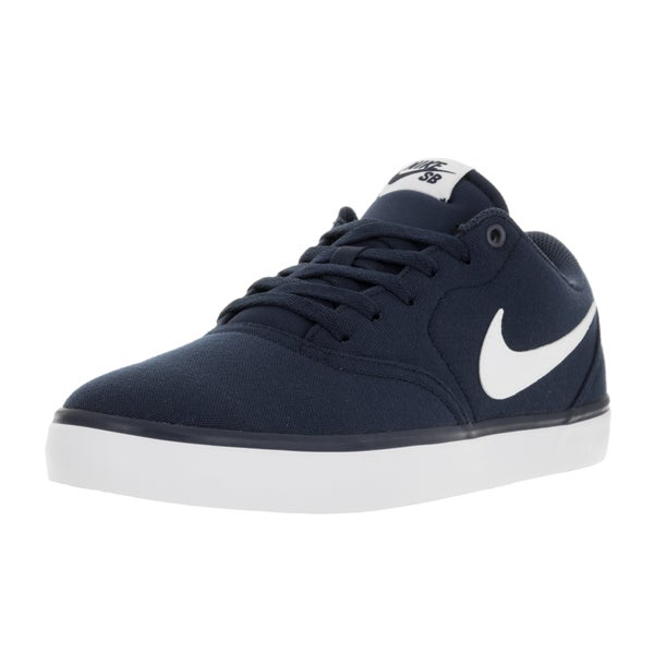 Nike Men's SB Check Solar Midnight Navy/White Canvas Skate Shoe