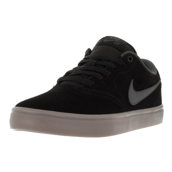 Nike Men's SB Check Solar Black, Anthracite, and Dark Brown Suede Skate Shoes