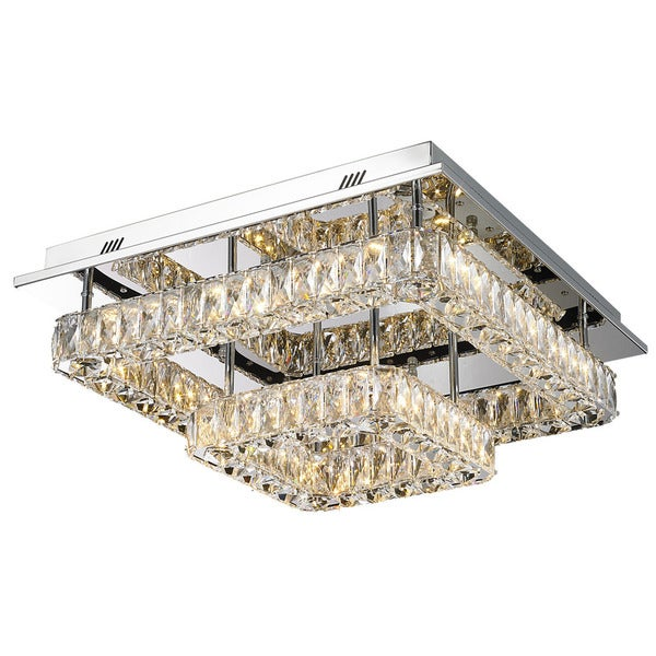 Lumenno Gibson Collection Silvertone Steel/ Crystal 2-tier Flush Mount Light Fixture