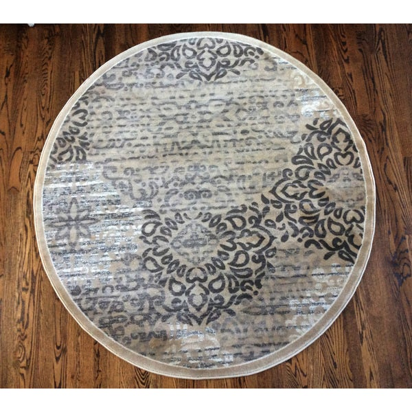 Plaza Mia Round Beige Area Rug (7'10 in Diameter)