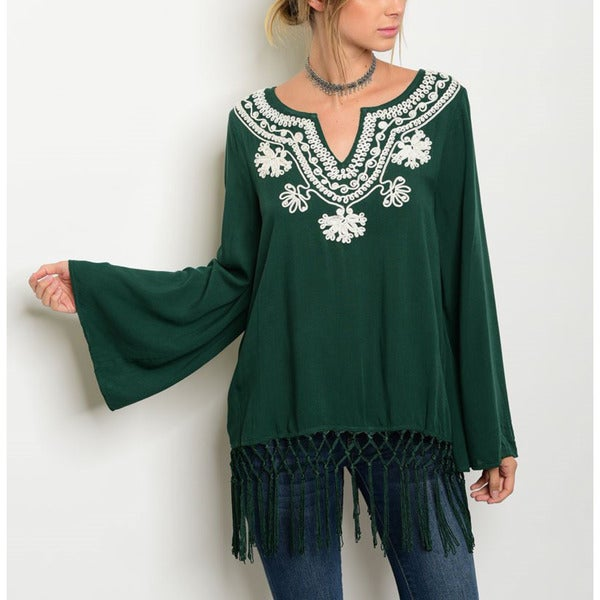 JED Women's Green Rayon Embroidered Bell-sSleeve Festival Tunic Top