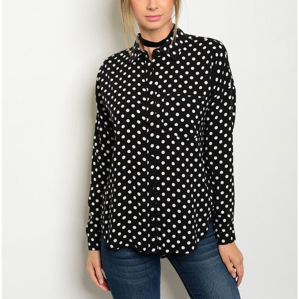 JED Women's Black-and-white Long-sleeve Polka-dot Button-down Shirt
