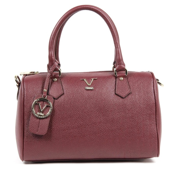 Versace 1969 V ITALIA Burgundy Leather Bowler Tote Bag
