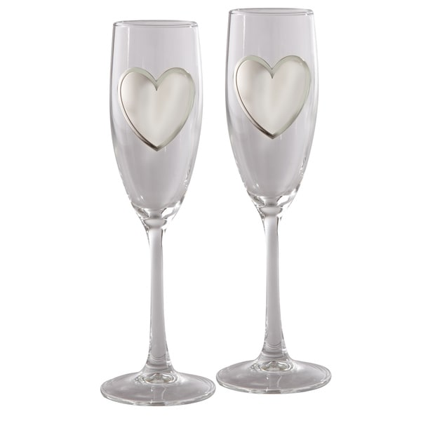 "Elegance Pair of Flutes with Engraving Badge, 8.5"" H"