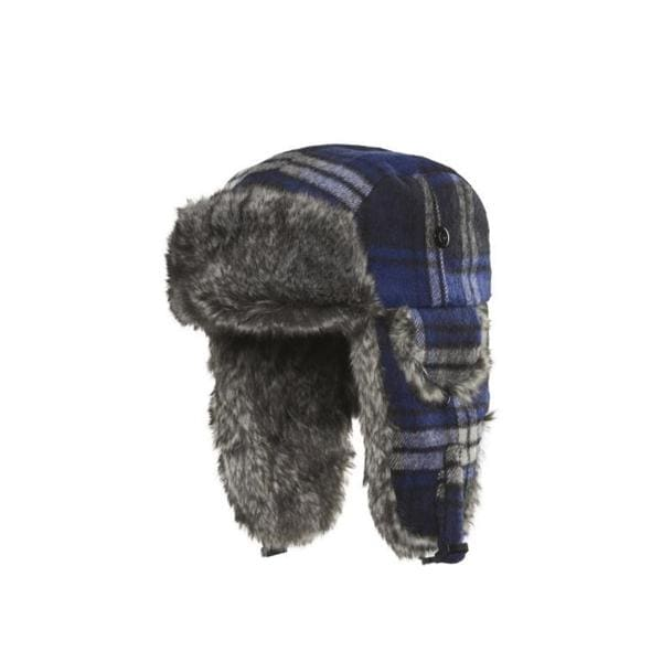 Chaos Hats Muscle Plaid Royal Blue Faux-fur Trapper Hat