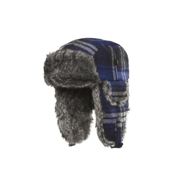 Chaos Hats Muscle Plaid Royal Blue Faux-fur Trapper Hat