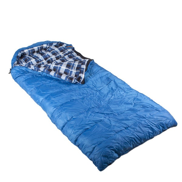 Echo Big Sur XL Blue Poly Rip Stop Hybrid Oversized Rectangle Sleeping Bag with Hood