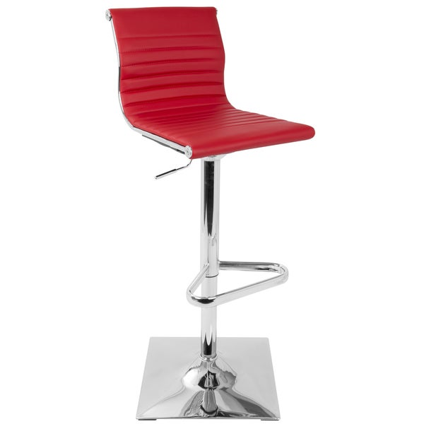 LumiSource Contemporary Master Red Faux Leather Barstool 22210331