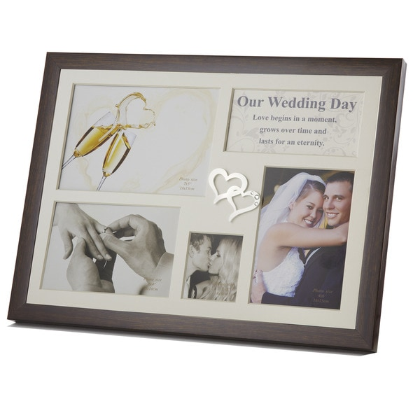 Elegance Wedding Day Collage Photo Frame with Double Heart Icon