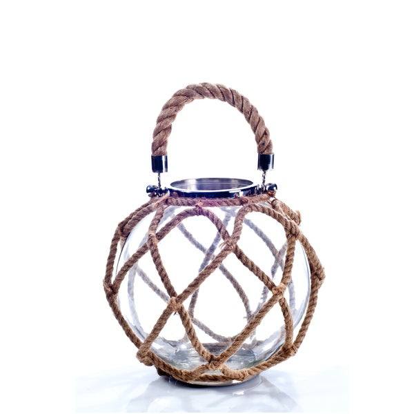 Rustic Glass, Jute Rope, and Stainless Steel Candle Globe Lantern