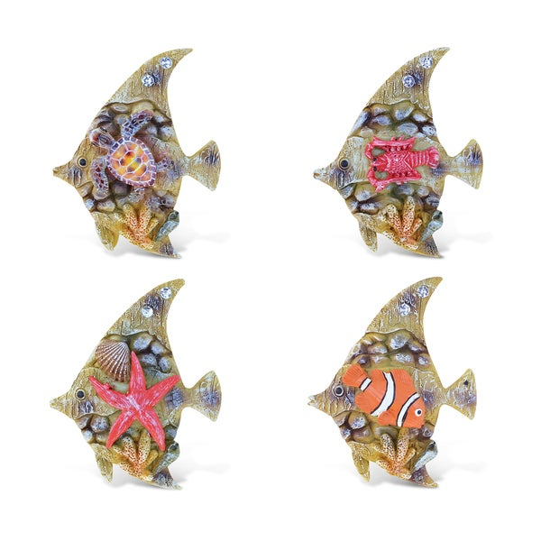 Puzzled Rockstone Fish Resin Refrigerator Magnet (Pack of 4)