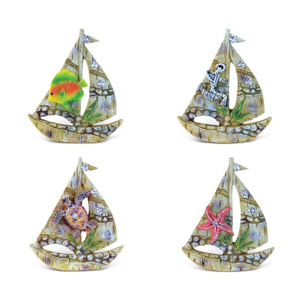 Puzzled Resin Sailing Boat Rockstone Refrigerator Magnet (Pack of 4)