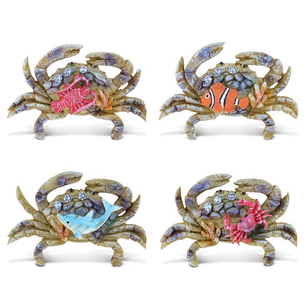 Puzzled Resin Crab Rockstone Refrigerator Magnet (Pack of 4) 22213236