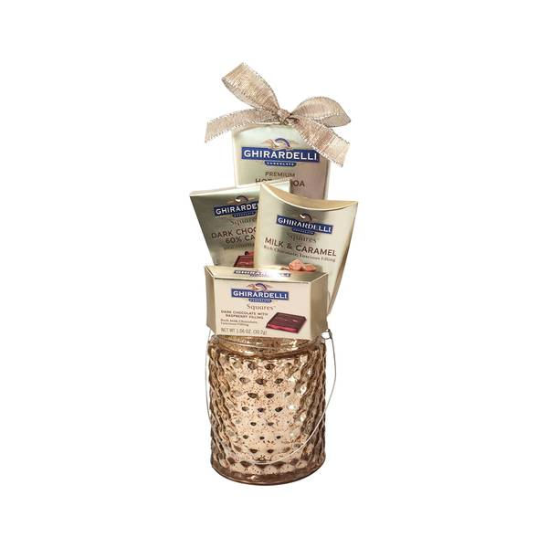 Ghirardelli Chocolate and Candle Holder Gift Set