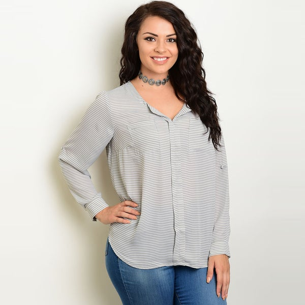 Shop The Trends Women's White and Grey Chiffon Plus-size Long-sleeve Blouse