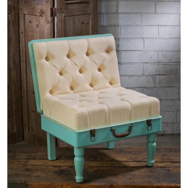 Mint and Cream Wood and Fabric Padded Suitcase Chair