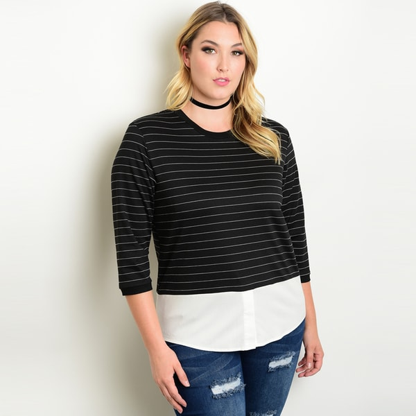 Shop The Trends Women's Black and White Plus-size 3/4-sleeve Round-neckline Striped Sweater Top