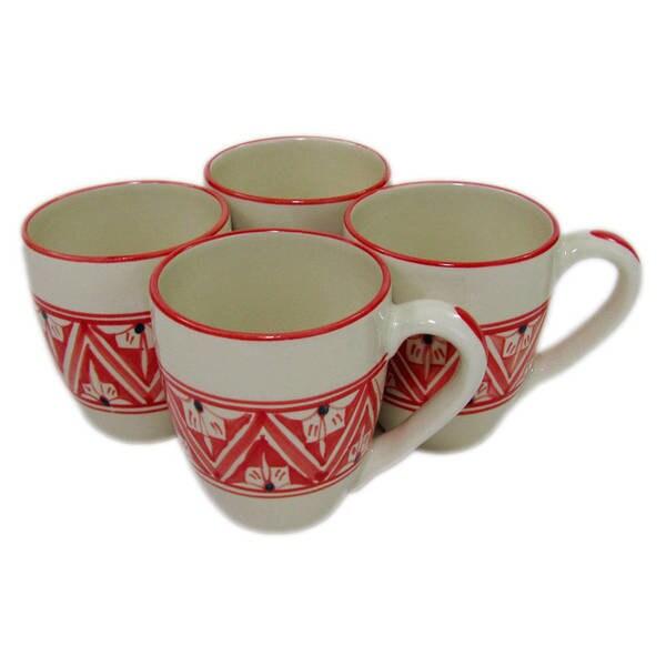 Handmade Le Souk Ceramique Set of 4 Nejma Design Stoneware Tea Cups (Tunisia) 22216072