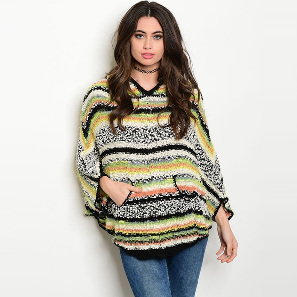 Shop the Trends Women's Multicolor Stripe Long Dolman Sleeve Knit Sweater