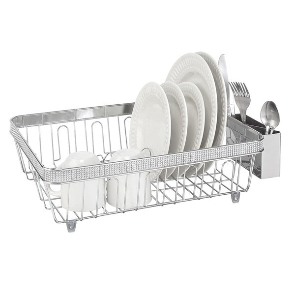 Kitchen Details Chrome Dish Rack with Plastic Cup 22216323
