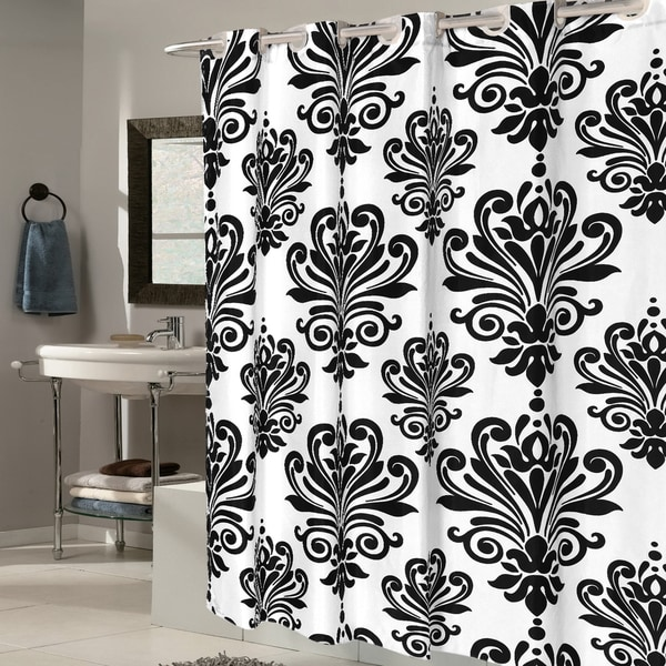EZ On Fleur De Lis 100-percent EVA With Built in Hooks Black/White Shower Curtain