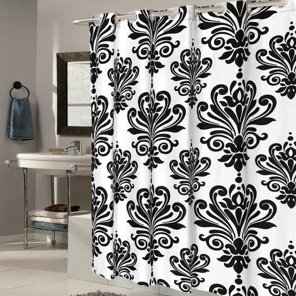 EZ On Fleur De Lis 100-percent EVA With Built in Hooks Black/White Shower Curtain