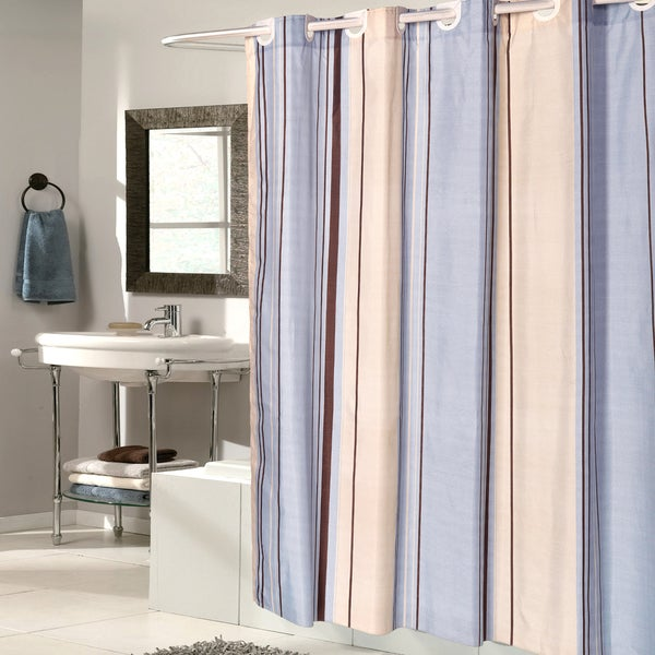 EZ On Blue Stripes 100-percent EVA With Built in Hooks Shower Curtain